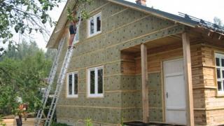 Утепление стен дома стекловолокном